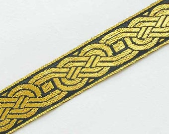 5 Yards Trim. Celtic, Jacquard Ribbon. Black & Metallic Gold