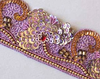 Hand-Beaded, Sequin Trim. Sparkling Sequins & Beads. Sari Border Trim. With Gold and Silver