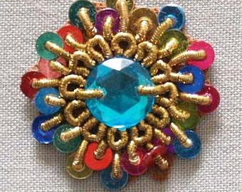 10 Hand-Beaded Appliques. Little Gems & Sequins