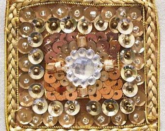 2 Hand-Beaded Appliques. Golden Squares. Old World Art with Sequins, Gems, and Beads.