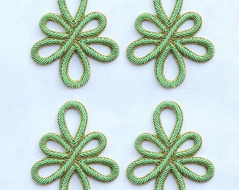 Title:       4 Hand-Embroidered Appliques. Celtic Knot. Green Bullion Patch