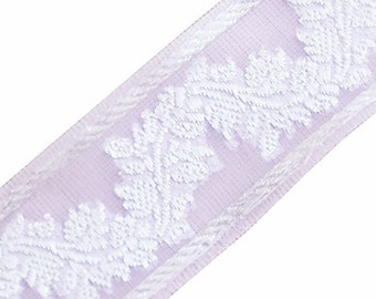 Organza Jacquard Trim. Lavender, Metallic Silver. 3 Yards. Ribbon, Braid. Flowers