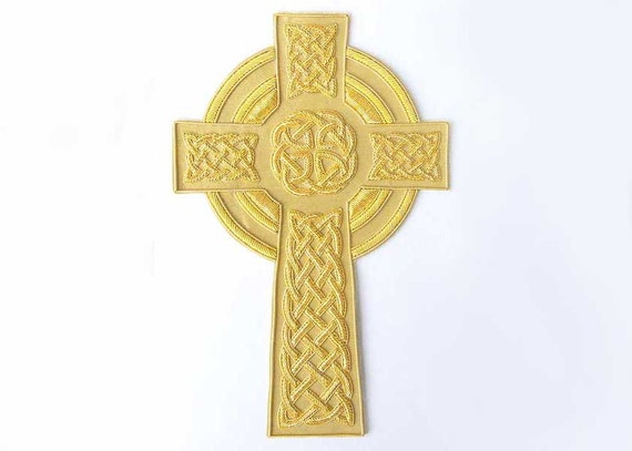 8 Inch Applique. Celtic Cross. Hand Embroidered. Large, Vestment Patch. Gold Bullion