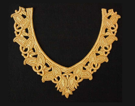 Hand-Beaded Appliques for Neckline & Sleeves. Gold, V-Neck Collar. Bullion Patch