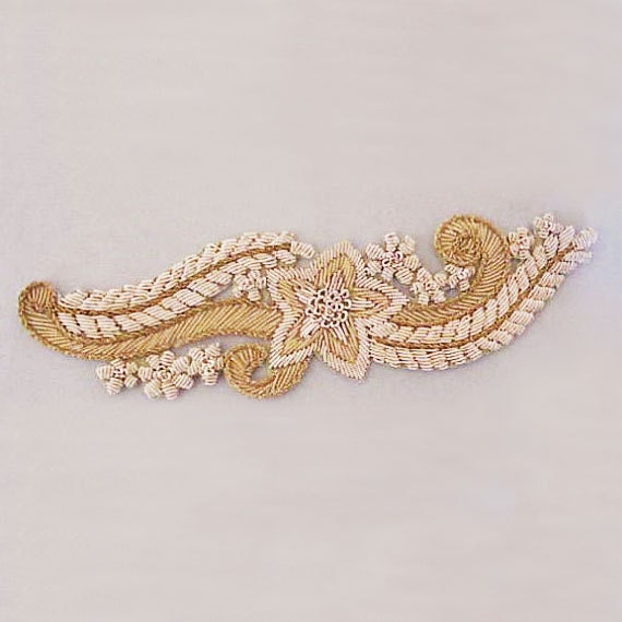 Large Hand-Beaded Applique. Gold Bullion. Metal Thread Embroidery