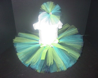 TuTu Skirt and Headband Two Piece Set Newborn 0 3 6 9 12 Months Blue and Green Baby Infant