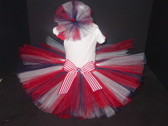 Patriotic Memorial Day TuTu Skirt & Headband Two Piece Set  Baby Infant 4th of July Newborn to12 Months