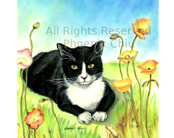 Tuxedo Cat Art Print - Cat Art - Black and White Cat Art- Print of Original Pastel Drawing