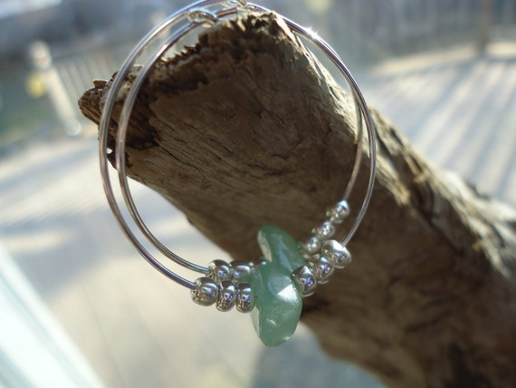 Simple delicate handcrafted unique pale sage green beaded silver hoop earrings
