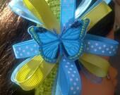 Spring Turquoise - Celery Green- Polka Dot Girl's Headband / Ribbon Bowband for Newborn Baby Toddler Child