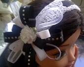New Item- Girl's Black White Flower Hairband/Hand Knit for Children Baby Newborn Toddler