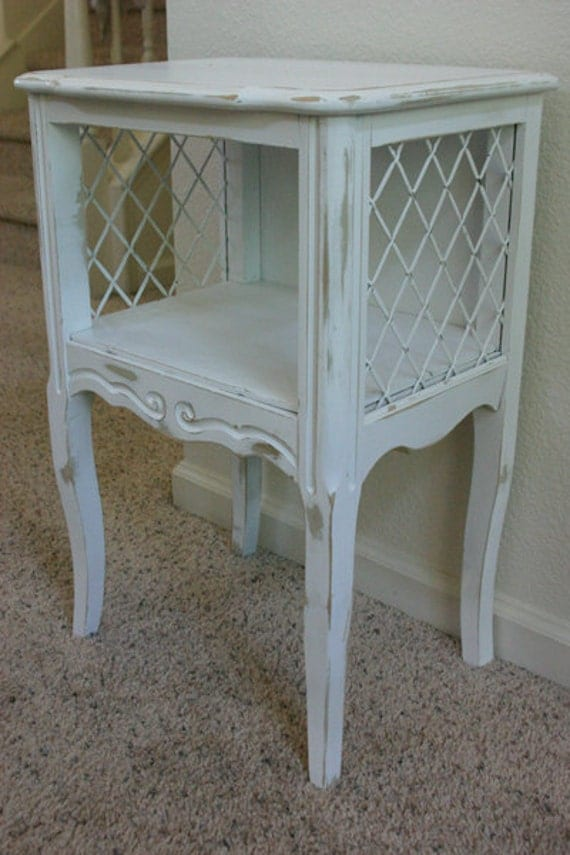 White Side Table - Distressed