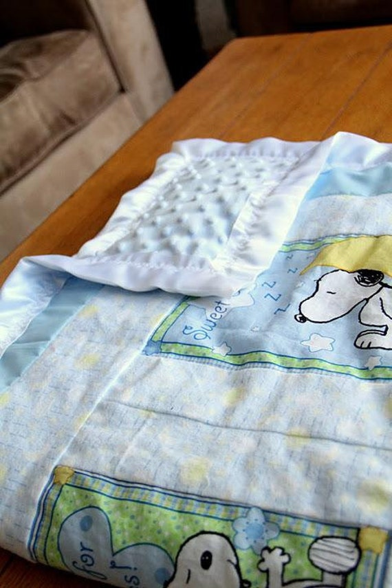 Cuddly Blue Snoopy Bedtime Blanket, Flanel and Soft Minky Material with Satin Binding