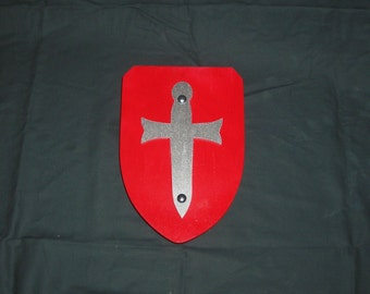 Buckler Shield in Red With Sword