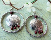 Concho Sun Earrings with Bordeaux Swarovski Pearls - 805