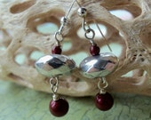 Silver Ball with Red Pearl Earrings - 794
