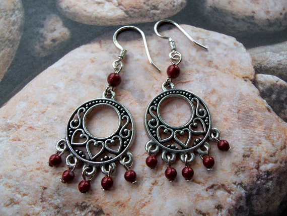 Antiqued Silver Hoop Earrings with Bordeaux Pearls - 805