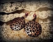 Rose Gold Chic Leopard & Pearl Earrings