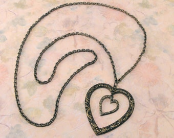 Two Hearts Antiqued Brass Necklace