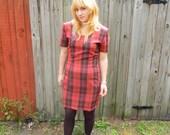 SALE Vintage 1980s My Michelle Red Plaid Tartan Dress 80s Punk