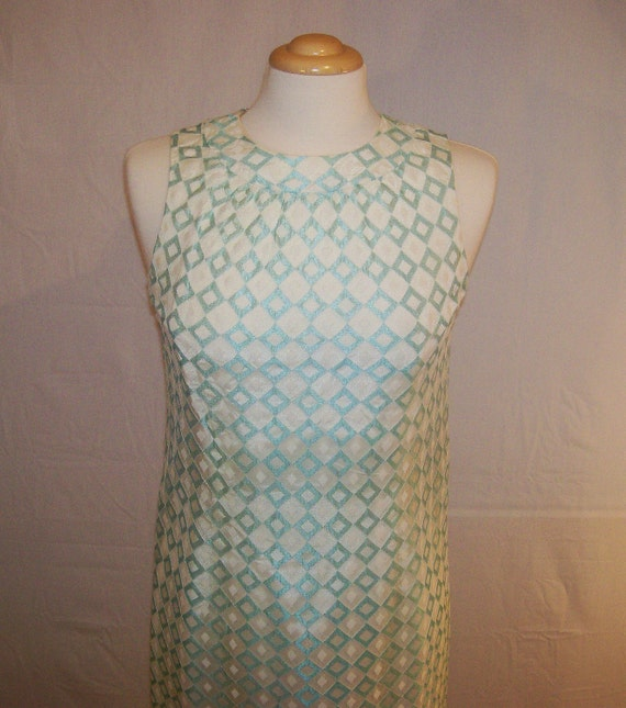 1960s Formal White and Baby Blue Gown Reception Dress
