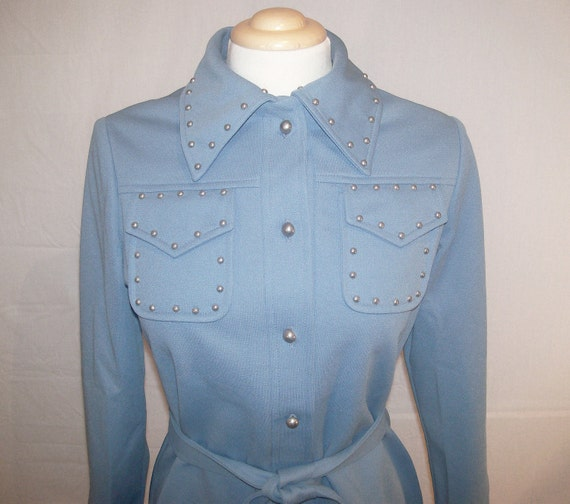 S M Small Medium Vintage 60s Western Rockabilly Baby Blue Button Up Studded Hipster Indie Henry Lee Small Medium S M Shirt Blouse