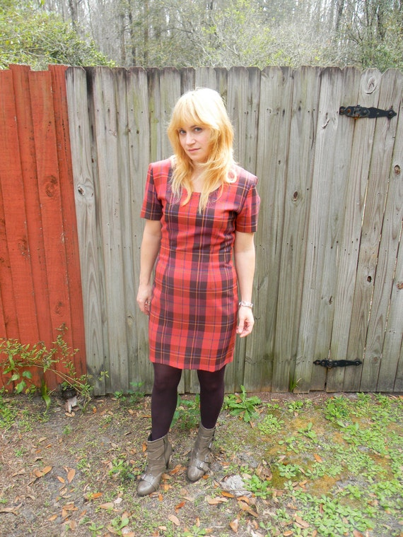 SALE Vintage 1980s My Michelle Red Plaid Tartan Dress 80s Punk