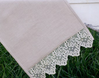 Linen Table Runner Accented with Vintage Lace