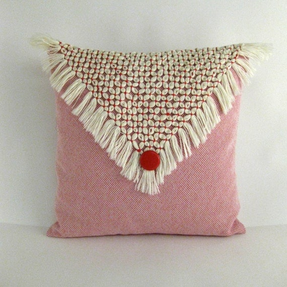 Red and Cream Fringe Pillow