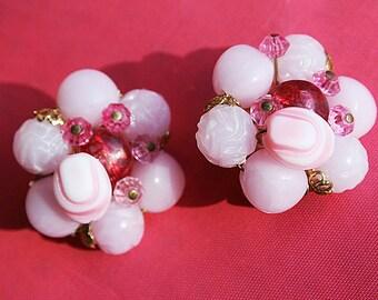 Vintage Pink Earrings Made in West Germany Mad Men Earrings