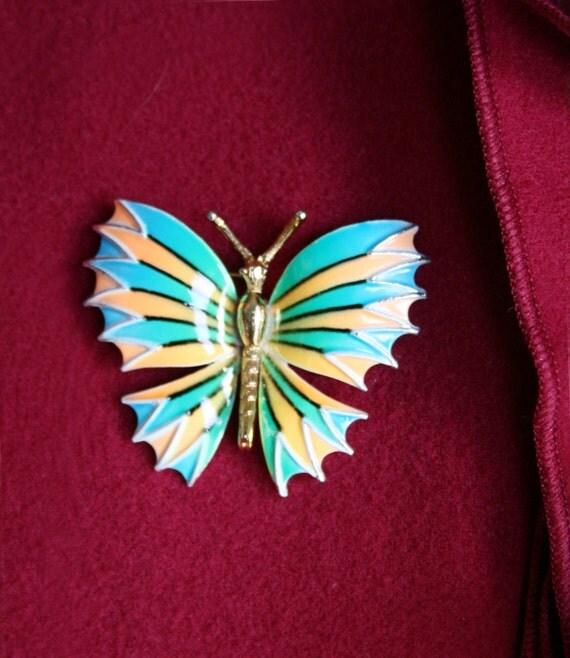 Vintage Enamel Butterfly Pin/Brooch