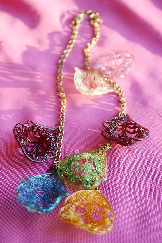 Vintage Celluloid Necklace Multi Colored with Filigree like Leaves