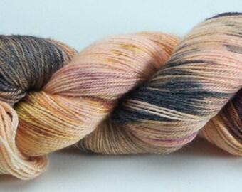 Hand Dyed Yarn Superwash Merino Bamboo Apricot Purple  Rust Violet 2362