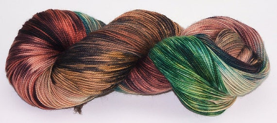 Hand Dyed Yarn Superwash Sock Wool Energized Green Brown Rust Red 2325