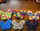 3 Crochet Butterflies - 100% Cotton - Pick any 3 - Pretend Play, Imagination, Decoration, Wash cloth, Boo boo bunny - Dee's Transformations