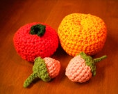 Crochet Fruit Set - 4 pcs. - Apple, Orange, Strawberry - Handmade, Pretend play, Imagination, Educational Toy - Dee's Transformations