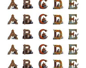 "Instant Download Alphabet Digital Collage Featuring 1"" square Victorian Fairies"