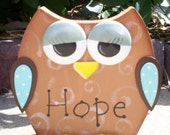 """Hand Painted Wooden Brown Owl Note Holder or Recipe Holder. """"HOPE"""""""