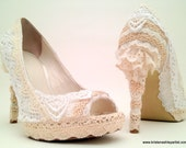 "The ""Lacy Lift"" for Women's Heels : lace covering for shoes, upcycled high fashion spring garden victorian wedding"