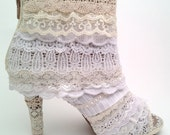 "The ""Lacy Lift"" for Women's Booties : lace covering for shoes, upcycled for a high fashion garden victorian wedding"