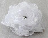 White wedding hair flower with rhinestone -wedding hair accessories -  white hair clip