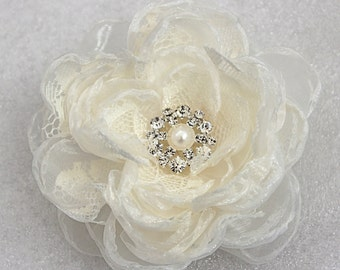 Ivory wedding hair flower with rhinestone -wedding hair accessories - bridal hair clip