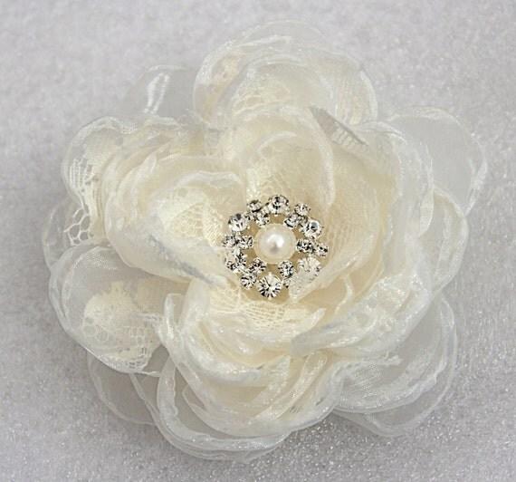 Ivory wedding hair flower with rhinestone -wedding hair accessories - bridal hair clip