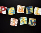 """Letter Magnets Spell """"Pearl Jam"""" in Primary COlors"""