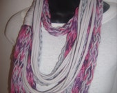 NEW Upcycled Pink and Gray T-Shirt Scarf & Acrylic Yarn Scarf Necklace