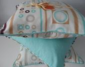 Decorative Pillow Cover 18x18 Modern Alhambra Fabric Blue Geometric Circles Squares