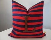 Stripe Pillow Patchwork Navy Red Chocolate Brown Colors Twill Cotton Fabric Eco Felt Applique Handmade Custom