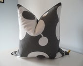 Decorative Pillow Cover Custom Size Gray-White Cotton Fabric Modern Flowers And Circles Designer Fabric Handmade
