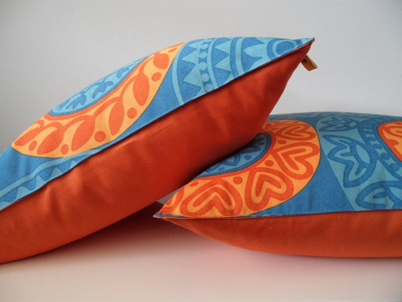 Accent Pillow Cover 18x18 Blue Orange Color Designer Home Decor Fabric Silky Cotton Handmade