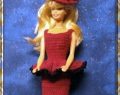 Barbie Hand Crochet Fashion Doll 2 pc.Red and Black Dress